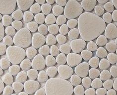 GAMME CRAQUELÉS : Galets Japonais de coloris Sable en plaque de 26 x 26 Cm à poser au mur et au sol, ou pour une douche à l'italienne...