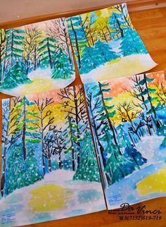 Winter Art Projects, Easy Projects, Art Sites, Art Lesson Plans, Art Lessons, Watercolor Art, Colours, Teaching, Children
