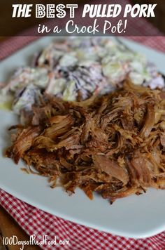 The Best Pulled Pork in a Crock Pot from 100 Days of #RealFood #crockpot - 3 lbs pork shoulder, honey