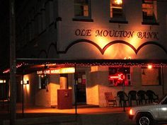 Ole Moulton Bank:    *live music venue       *neighborhood bar  *24-track recording studio       *vintage guitar store.    We carry a large selection of beers, ales, & wines.