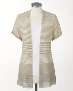 Linen striped cardigan | Coldwater Creek