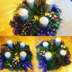 Christmas decorations, advent wreath N 2016 Advent Wreath, Christmas Decorations, Table Decorations, Wreaths, Fun, Home Decor, Homemade Home Decor, Door Wreaths, Christmas Decor