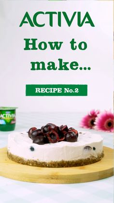 Activia presents how to make delicious creamy cherry cheesecake with nutty base easy desserts, healthy Dog Treat Recipes, Sweet Recipes, Easy Desserts, Dessert Recipes, Healthy Desserts, Cheesecake Recipes, Vegan Cheesecake, Cooking Recipes, Cooking Videos