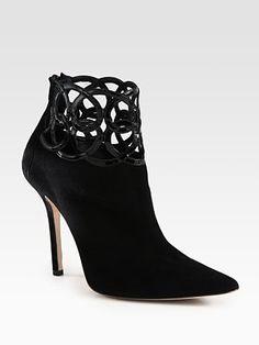 Oscar de la Renta Suede and Patent Leather Ankle Boots