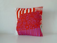 I love my Marimekko pillow by ilovemypatterns on Etsy, Marimekko, Making Out, Red And Blue, Xmas, Throw Pillows, My Love, Pattern, Etsy, Yule