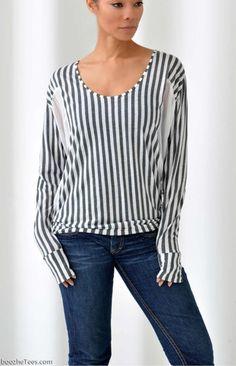 """Melena"" - Silky Striped T-Shirt – boo'-zhe Tees @ boozheTees.com"