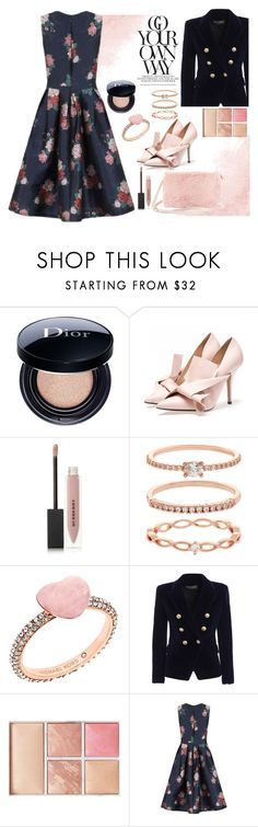 """go your own way"" by felicitysparks ❤ liked on Polyvore featuring Christian Dior, Burberry, Accessorize, Michael Kors, Balmain, Hourglass Cosmetics, Chi Chi and Steve Madden"