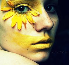 Yellow make-up. Cool make up if you were a flower! #yellow #makeup #beauty