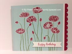 I love the simplicity of Pleasant Poppies.  The white embossing makes the flowers just pop off the card - an easy technique that anyone can do.  Close up on my blog; http://stampinbj.typepad.com/weblog/2014/04/oh-so-pleasant-.html BJ Peters,