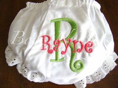 Monogrammed Diaper Cover Bloomers for Girls - PERSONALIZED Custom by bowsnbugs on Etsy https://www.etsy.com/listing/107035050/monogrammed-diaper-cover-bloomers-for
