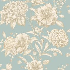 AM Walls-Tapetti Cordelia 97833 m sinivihreä/kulta non-woven Teal Toile Wallpaper, Wallpaper Decor, Painting Wallpaper, Pattern Wallpaper, Small Garden Birds, Albany Wallpaper, Doll House Wallpaper, French Country Decorating, Country French