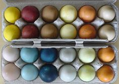Natural Dyes for Easter Eggs -- I've been looking for recipes for these dyes!!  The colors are so much better than the pastels, too!