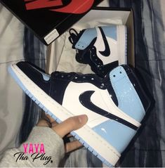 JORDAN 'UNC BLUE' – Royal Goddess Collection All of our shoes from RoyalGoddessCollection come with box, laces,tags, and are true to size so please grab your normal size Sneakers Shoes, Cute Sneakers, Nike Air Shoes, Women's Shoes, Sneakers Fashion, Air Jordan Sneakers, Air Force Sneakers, Nike Air Force, Asos Shoes