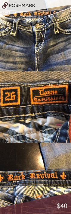 Women's Rock Revival 26 Donna Easy Skinny 😍 This is a great distressed pair of Rock Revival 26 jeans . The style is Donna with easy skinny . The length is 29 from the inseam . Great design. Great details . Fast shipping ! Rock Revival Jeans Skinny