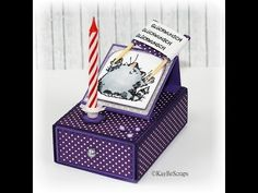 free cut files and tutorial gift in a card. Easel matchbox card with candle insert and separate candle and chocolate storage compartments within box. Matchbox Crafts, Matchbox Art, Card In A Box, Diy And Crafts, Paper Crafts, Origami, Envelope Punch Board, Birthday Box, Diy Gifts For Boyfriend