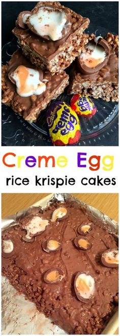 Ridiculously moreish three ingredient Creme Egg Rice Krispie Cakes - like your favourite chocolate Rice Krispie Treat but with added Creme Eggs! Great no-bake Easter treat (three chocolate mousse cake) Baking Recipes, Dessert Recipes, Brunch Recipes, Baking Ideas, Sweet Recipes, Healthy Recipes, Rice Krispie Cakes, Reis Krispies, Homemade Food Gifts