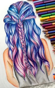 Drawing Anime long and wavy pink and blue hair, with a braid, how to draw anime girls, lots of pencils - A perfect girl drawing? This article will inspire you to start practicing. Find tips, pictures and beautiful examples to develop your creativity. Pretty Drawings, Amazing Drawings, Beautiful Drawings, Colorful Drawings, Amazing Art, Beautiful Beautiful, Awesome, Illusion Kunst, Hair Sketch