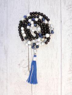 Pin It! The Orca Mala - Sandalwood, Howlite and Sodalite  Mala Kamala Mala Beads - Boho Malas, Mala Beads, Yoga Jewelry, Meditation Jewelry, Mala Necklaces and Bracelets, Childrens Malas, Bohemian Jewelry and Baby Necklaces