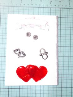 wedding card for friends of ours - acrylic skin hearts