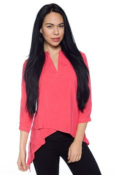 Overlap of Luxury High Low Blouse - Coral from Antilia Femme at Lucky 21