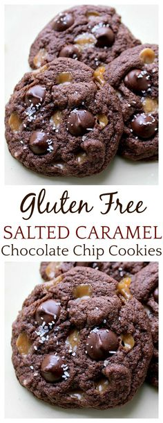 Gluten Free Salted Caramel Chocolate Chip Cookies - the best gluten free cookies recipe that I have ever had! This recipe is easy and gives you a cookie so perfect that no one will be able to tell it's gluten free! Gluten Free Baking, Gluten Free Desserts, Easy Desserts, Delicious Desserts, Dessert Recipes, Gluten Free Potluck, Gluten Free Cookie Recipes, Healthy Desserts, Breakfast Recipes
