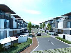 Row House Design, Duplex House Design, Villa Design, Modern House Design, Modern Architecture House, Futuristic Architecture, Amazing Architecture, Double Storey House, Modern Townhouse