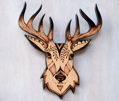Stag Wall Hanging pyrography wood burning deer wallhanging