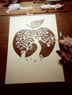 Papercut DIY Design Template - 'Apple Tree' - Instant Download
