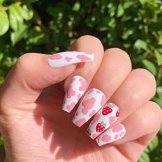 Acrylic Nails Coffin Short, Simple Acrylic Nails, Summer Acrylic Nails, Best Acrylic Nails, Edgy Nails, Swag Nails, Acylic Nails, Cow Nails, Cute Acrylic Nail Designs