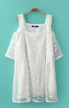 Off the shoulder flower embroidered lace dress #festivalstyle