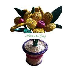Radha Beautiful Multi Color Flower Vase made of Sikki - MithilanchalGroup