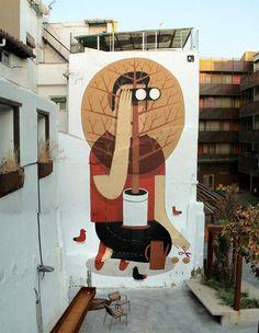 Agostino Iacurci, Zaragozza, Spain, imaginative street art, graffiti art, street artists, urban murals, urban art, mr pilgrim art.
