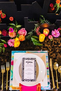 Bold color with gold and black and white pattern table decor Wedding Inspiration