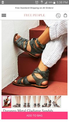Durango Metal Gladiator Sandals Strappy washed leather sandals with stud detailing and adjustable buckles. *By Free People *Artisan crafted from fine leathers and premium materials, FP Collection shoes are coveted for their signature vintage aesthetic. Gladiator Sandals, Leather Sandals, Shoes Sandals, Women Sandals, Fringe Sandals, Gladiators, Strappy Sandals, Cute Shoes, Me Too Shoes