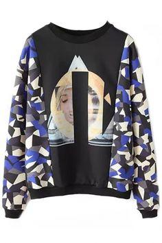 Color-Blocked Paneled Long Sleeves Sweatshirt