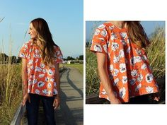 Free pattern: Fall swing top This swing top is a cute look for fall transition wardrobe. Sara from The Sara Project shares a free pattern at Sew Mama Sew for making one. The design is inspired by an A