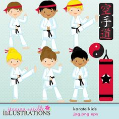 Karate Kids Cute Digital Clipart for Card by JWIllustrations, $5.00