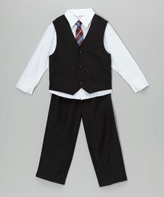 Black & White Vest Set - Toddler & Boys #zulily #zulilyfinds