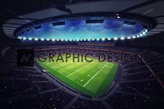 modern rugby stadium with fans under roof, sport theme three dimensional illustration