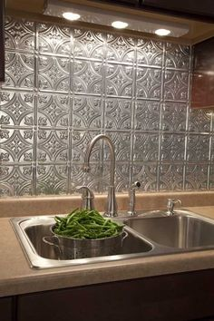 See backsplash pictures. Modern backsplash photos of Fasade backsplashes in kitchens and baths. Tin Tiles, Tin Ceiling Tiles, Ceiling Art, Cement Tiles, Mosaic Tiles, Wall Tiles, Kitchen Redo, Kitchen Remodel, Kitchen Tiles