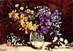 Immortelles by Stefan Luchian Art Floral, Famous Flower Paintings, Immortelle, Georges Braque, Fauvism, Post Impressionism, Alphonse Mucha, Art Database, Gustav Klimt