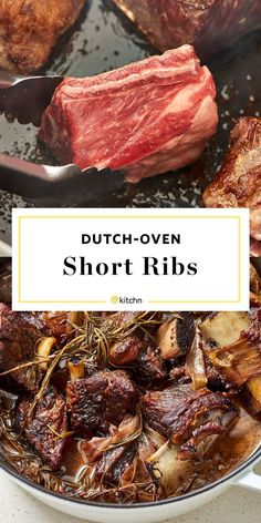 How to Make Dutch Oven Short Ribs. This Classic oven baked French recipe makes easy & tender slow cooked bone in beef ribs. Make sure you get bone in -- boneless won't work as well. Braised comfort foods like this are perfect for cold weather cooking. Oxtail Recipes, Beef Recipes, Short Rib Recipes Crockpot, Short Ribs In Oven, Recipe For Short Ribs In The Oven, Short Ribs Recipe Pioneer Woman, Pork Short Ribs Recipe Oven, Best Short Rib Recipe, Slow Cooker Short Ribs