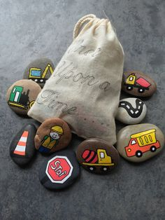 Items similar to Story Stones - Construction Set on Etsy - Story Stones Construction Set by LittlePebbleDesigns on Etsy - Pebble Painting, Pebble Art, Stone Painting, Story Stones, Diy For Kids, Crafts For Kids, Arts And Crafts, Truck Crafts, Painted Rocks