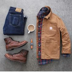 Carty jacket with plaid and jeans