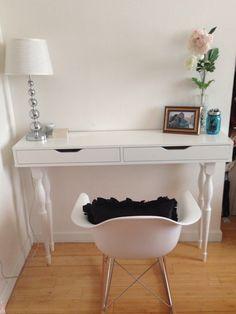 desk used as vanity. Ekby Alex shelf  4 Nipen table legs my DIY desk console vanity mirror coming soon MICKE Desk white Micke Desks and Cable