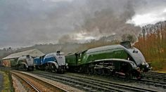 A rare gathering of three ex-LNER A4 locomotives at Grosmont, North Yorkshire Moors Railway, during the LNER Gala. Reminiscent of the 'Top Shed' scene of the 1950s, 60009 Union of South Africa, 60007 Sir Nigel Gresley, and 60019 Bittern line up alonsgide each other at 7:30am, as they are prepared for service.