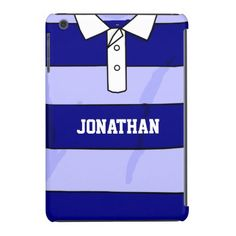 personalized name rugby jersey blue hoops iPad mini retina case
