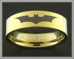 18kt Yellow Gold Plated Tungsten Ring with Black Batman Symbol. Free Inside Engraving!  Perfect Father's Day Gift! Sunsetjewelers,com