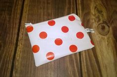 Ladies coin purse, White with red spots, made with pvc vinyl, wipe clean £3.99