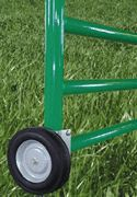 The gate wheel attaches to your metal pipe farm gate to lend a hand opening your gate. It also provides support for the gate to help prevent sagging and extra pull on the gate post.